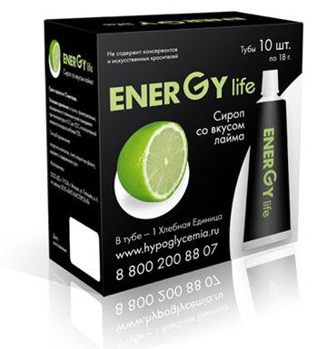 Сироп ENERGY LIFE ® со вкусом лайма. В Тубе - 1 Хлебная Единица. 13.4 углеводов.  В упаковке 10 туб.