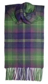 шарф 100% шерсть , коллекция Горец -яркая клетка, изумрудная расцветка Трун Troon, плотность 6 из 10
