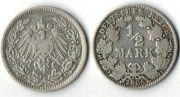 1/2 марки. 1905 год. А. Серебро. Германия.  0,9000 Серебро. 20 мм. 2,77 г.