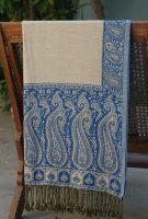 Контрастный двухсторонний индийский шарф, белый с синим