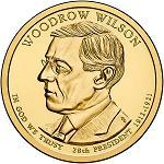 28-й президент США Вудро Вильсон 1 доллар США 2013 МОНЕТНЫЙ ДВОР НА ВЫБОР