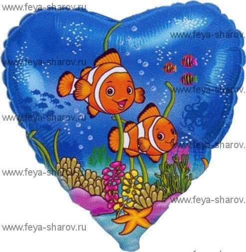 """Шар фольгированный """"Рыбки-клоуны"""" 46 см"""