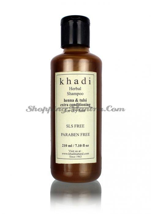 Шампунь-кондиционер для усиленного питания волос Кхади Хна&Тулси без парабенов и SLS / Khadi Henna&Tulsi Extra Conditioning Shampoo SLS Paraben Free