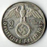 2 рейхсмарки. 1937год.  Е. Серебро.