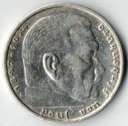 5 рейхсмарок. 1936 год. A.  Серебро.
