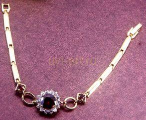 Элегантный позолоченный браслет с искусственным рубином