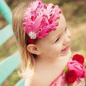"""Повязка на голову """"Перья с камнем"""" розовая"""