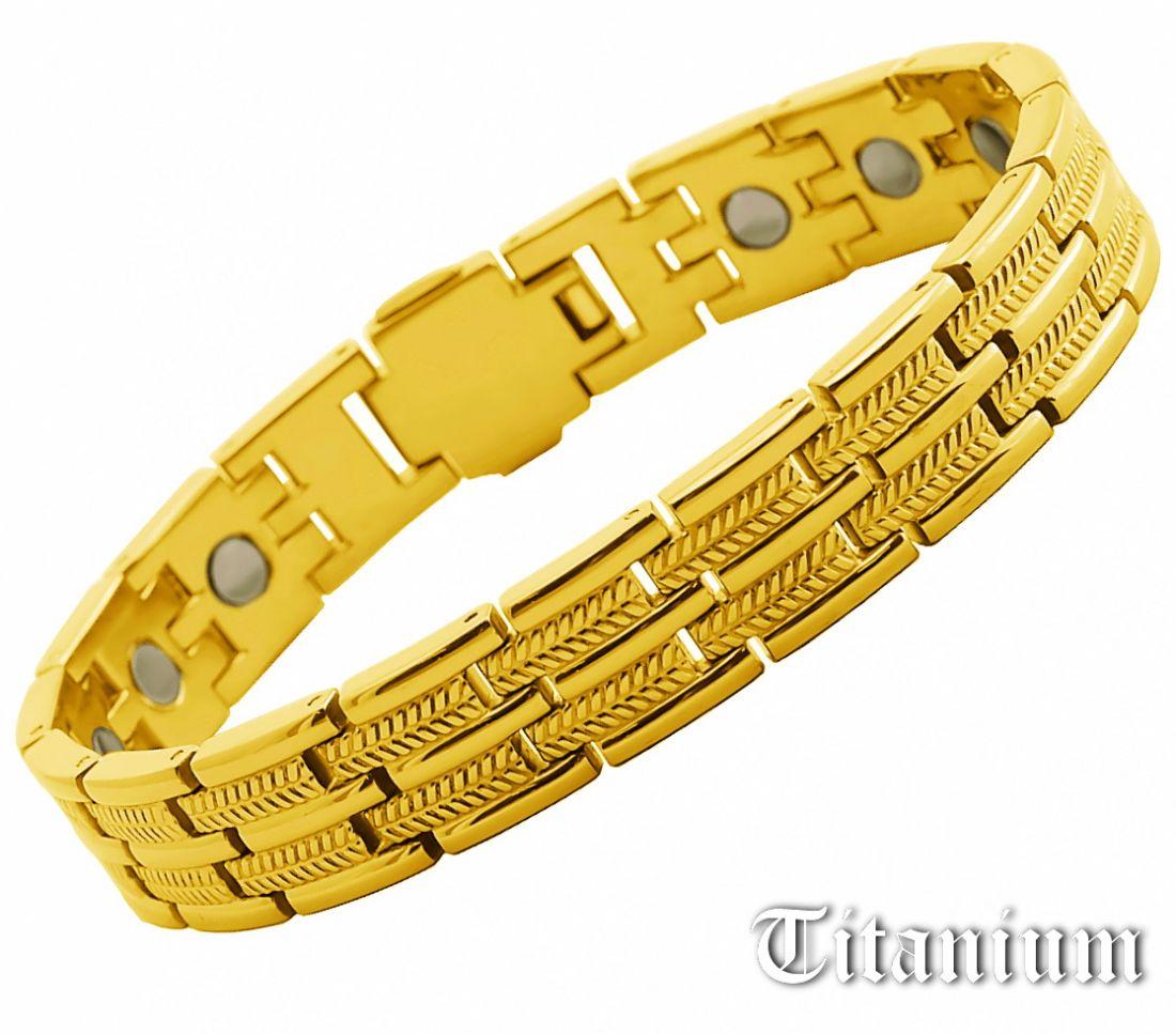 Позолоченный титановый браслет с биомагнитами