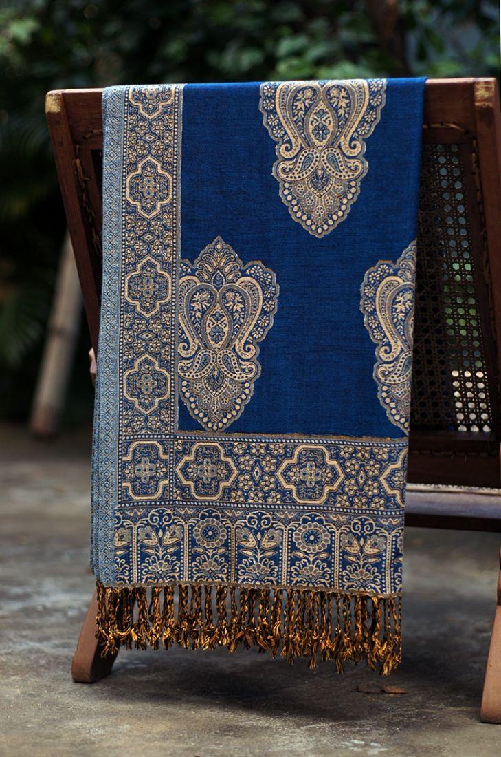 Синий индийский палантин из хлопка (отправка из Индии)