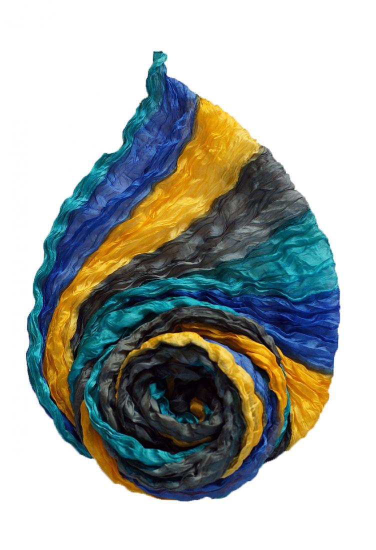 Жёлто-голубой шёлковый шарф (отправка из Индии)
