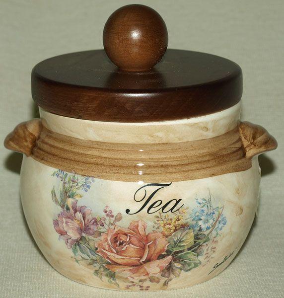 """Банка для сыпучих продуктов с деревянной крышкой  0,5 л. (чай)  """"Элианто"""""""