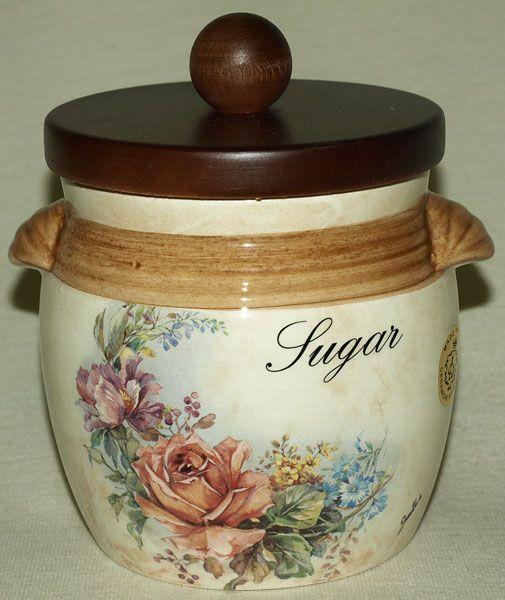 """Банка для сыпучих продуктов с деревянной крышкой  0,75 л. (сахар)  """"Элианто"""""""