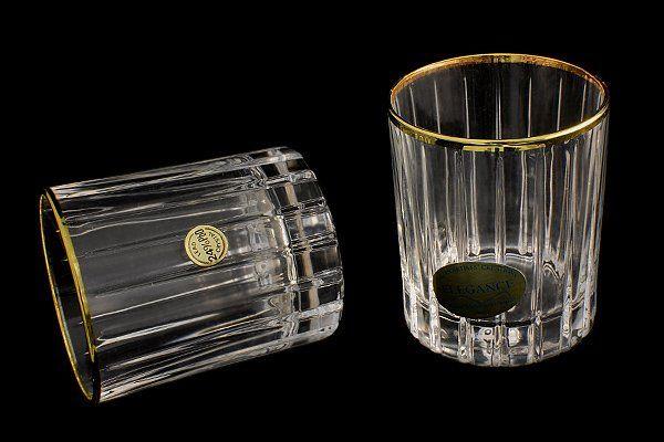 """Набор: 6 хрустальных стопок для водки (0,06л)  """"Пиза золото"""""""