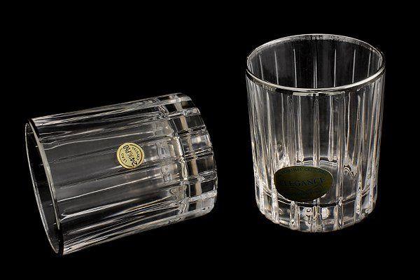 """Набор: 6 хрустальных стопок для водки (0,06л)  """"Пиза серебро"""""""