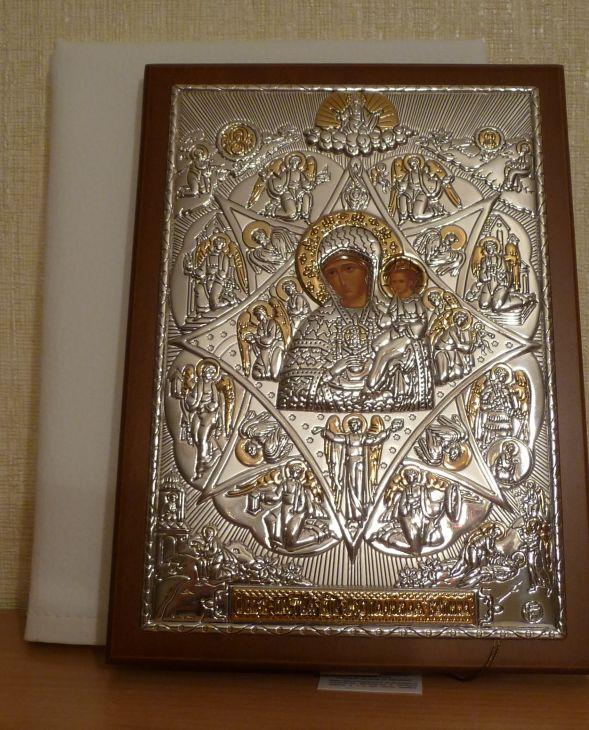 Серебряная с золочением кона Богородицы Неопалимая Купина (листовое серебро, 15*21см., Россия)