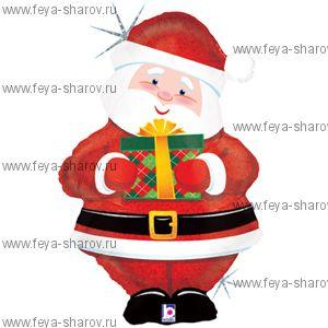 """Шар фольгированный """"Дед Мороз с Подарком"""" 76 см"""