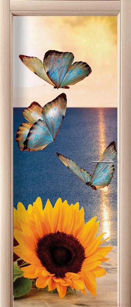наклейка на дверь - Бабочки и подсолнух