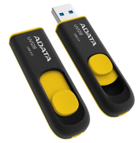 32GB USB 3.0 флэш накопитель ADATA UV128 черно-желтая выдвижная