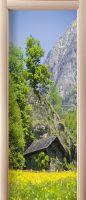 Наклейка на дверь - Дом в горах | магазин Интерьерные наклейки