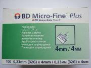 BD Miсro-Fine Plus иглы для шприц- ручки 4mm/ 4мм ( 100 шт )
