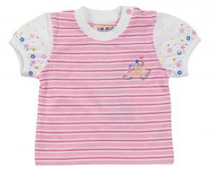 Майка для девочки рукава фанарик розовая полоска 5081