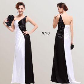 Атласное черно-белое платье на одно плечо