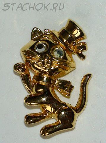"""Брошь """"Котенок в шляпке"""" под золото"""