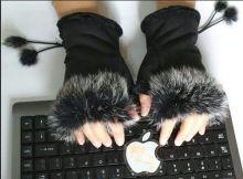Перчатки женские без пальцев (Мех кролика) Коричневые