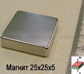 Магнит 25x25x5мм N33