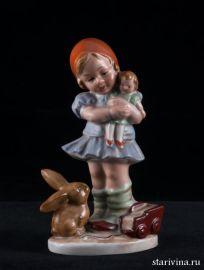 Девочка с куклой и кроликом, Wagner & Apel, до 1949 года