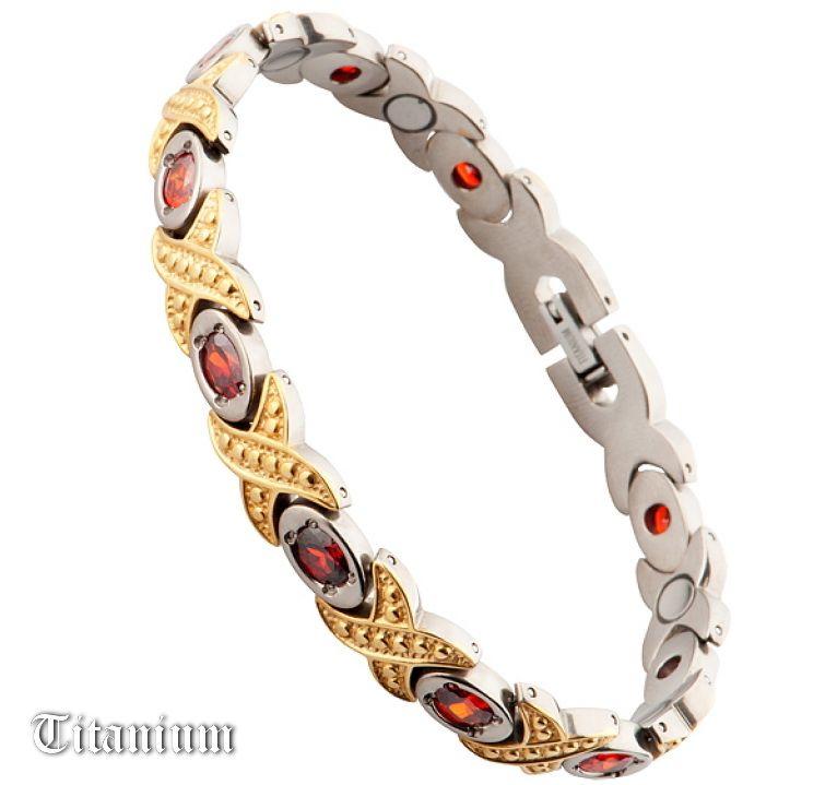 Титановый браслет с цирконами и магнитами