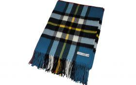 Плед, 100 % стопроцентная шотландская овечья шерсть, расцветка клана Томсон -Синий