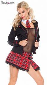 Костюм школьницы с пиджаком и прозрачным боди