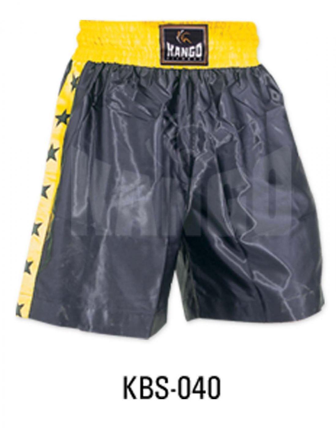 Шорты боксерские черно-желтые со звездочками, артикул 6900, размер S, KANGO