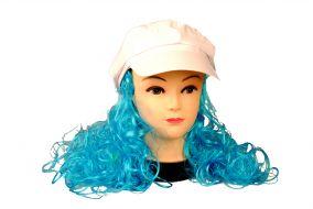 Женская кепка стиляги с париком голубого цвета.