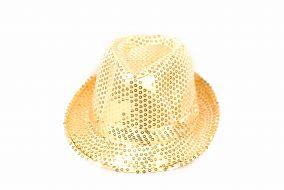 Блестящая шляпа стиляги лимонная
