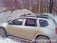 Багажник на крышу Renault Duster, Атлант, прямоугольные дуги на рейлинги
