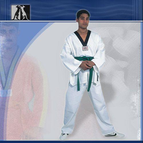 Униформа для Таеквон-до, белая, 7 унц., артикул 6201, размер 2/150, KANGO