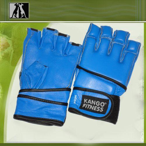 Перчатки для рукопашнего боя синие, нат. кожа, артикул 8100А, KANGO