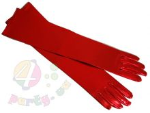 Карнавальные перчатки красный блеск 40 см