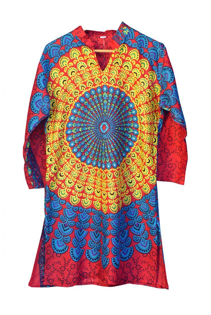 """Длинная женская индийская рубашка курта """"Мандала"""" (отправка из Индии)"""