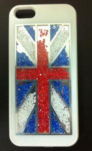 Накладка Apple iPhone 5 Британский флаг со стразами