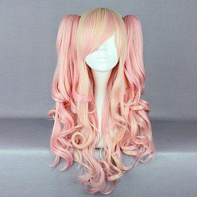 Парик розовый с кремовым Лолита