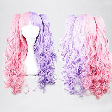 Парик курчавый розовый с фиолетовым Лолита