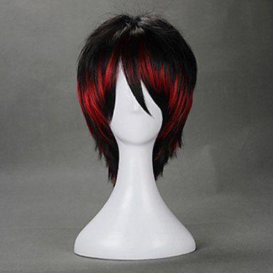 Черно-красный короткий парик Лолита