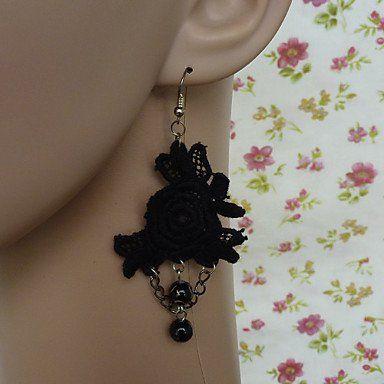 Серьги черная роза кружева