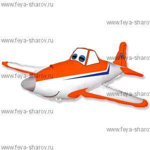 Шар фольгированный гоночный самолет Оранжевый (81см)