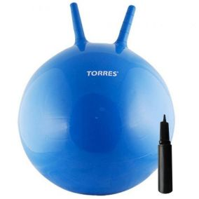 Гимнастический мяч с рожками и насосом 55 см.