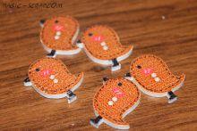 Птички пуговички деревянные темно коричневые
