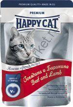 Happy Cat Нежные кусочки в соусе (Говядина и баранина) 100гр (пауч)